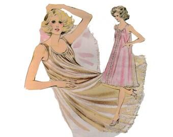 des années 70 non-Coupe nuisette chemise de nuit motif courte chemise de nuit patron Boudoir de taille Plus vintage Lingerie jusqu'à 45-36,5-47 Kwik 214 coudre