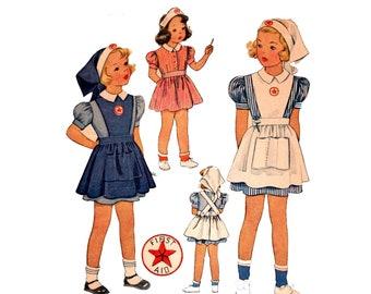 Nurse Costume pre-cut 40s Childs Nurse Costume Size 6 vintage 24-22-23.75 Apron pattern Nurse Hat pattern Girls Dress Nurse gift McCall 980