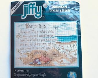 Footprints Jiffy Counted Cross Stitch Kit NIP 7 x 5 Inch He Spoke Dimensions Cross Stitch Kit Dimensions 16700