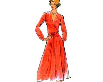 Dress Pattern uncut 70s Front Wrap Dress Size 18 Bust 40 Plus Size Vee Neckline Dress Butterick 5515