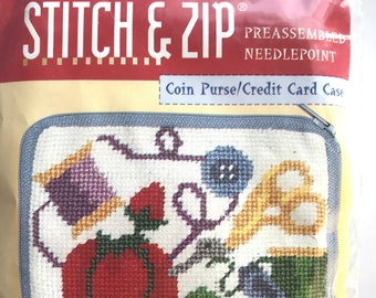 Stitch and Zip Sewing Theme Kit NIP Needlepoint Coin Purse by Alice Peterson 4.5 x 3.25 Inch Sewing Gift SZ 126