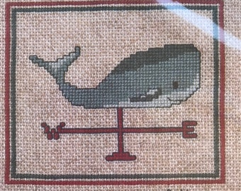 Whale Counted Cross Stitch pattern 4 x 4.25 Inches 80s Weathervane Whale Cross Stitch by Robin Rowe Stitch Graphique Needle Arts