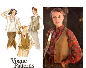 Tweed Vest Pattern uncut Vogue 70s Wool Vest Size 12 Bust 34 Loose Vest Vogue 7156