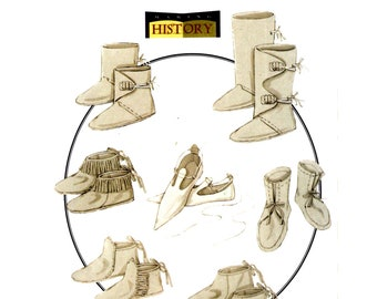 Moccasin Pattern uncut Mountain Man Boots MultiSize 5-13 Medieval Slippers Butterick 5233