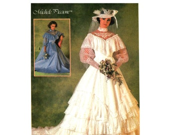 80s Wedding Dress Pattern uncut Tiered Wedding Dress with Train Size 8 Bust 31.5 High Neck Gown Simplicity 6765