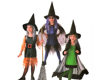 Girls Witch Dress Pattern uncut Witch Cosplay MultiSize 2-5 Chest 21-24 Kids Witch Costume Butterick 4256