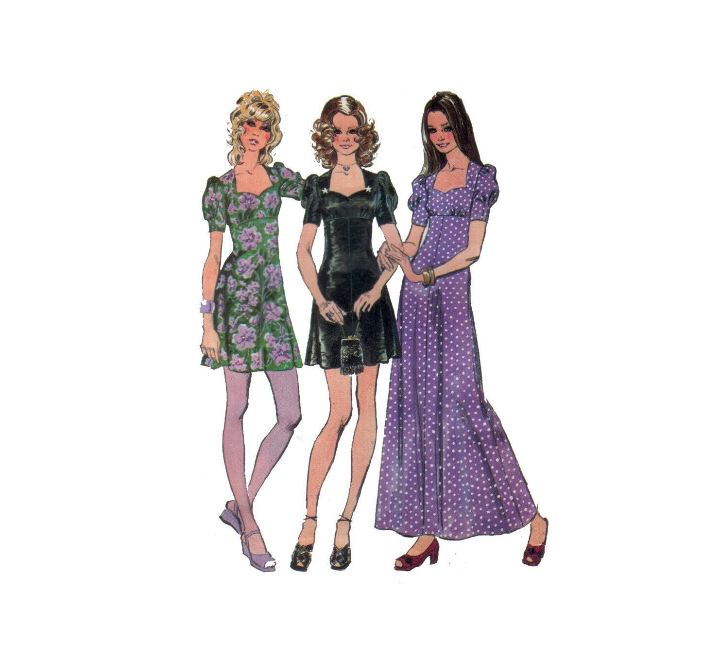 Dress Pattern 70s Empire Waist Dress pattern Mini Dress | Etsy