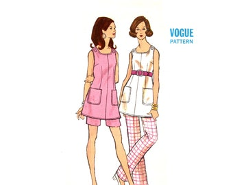 60s Mod Jumper Pattern uncut Vogue Top and Flares Size 10 Bust 32.5 XS 60s Cosplay Pattern Vogue 7576