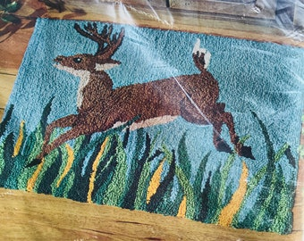 Stag Punch Needle Canvas NIP ~ Printed Canvas and Instructions - Punch Needle Rug Canvas ~ Aunt Lydias 670