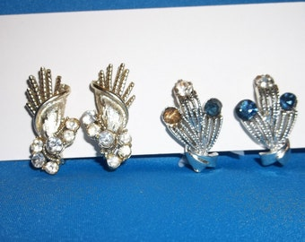 2 Pairs Vintage CORO RHINESTONE Clip On EARRINGS Signed Gold tone & Silver tone