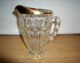 Jeannette Glass Pitcher Thumbprint Pattern Gold Trim