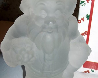 Crystal Santa Frosted Glass House Of Lloyd Christmas Around The World W Box 1996