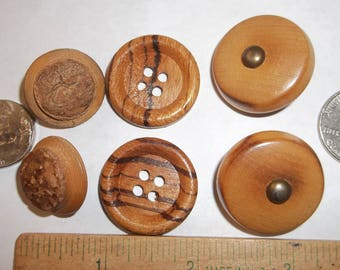 """Vintage Wood Buttons 3 Pairs 1 1/8"""" Metal Shank 1"""" 4 Hole 7/8"""" Carved Shank"""