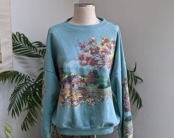 Vintage 90s Fall Autumn Graphic Sweatshirt Crewneck | Lifestyles Made in the USA | Oversized Pullover Size Large XL