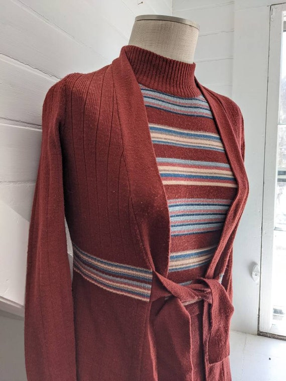 Vintage 1970s Roncelli Brown Striped Dress with S… - image 9