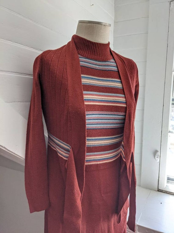 Vintage 1970s Roncelli Brown Striped Dress with S… - image 6