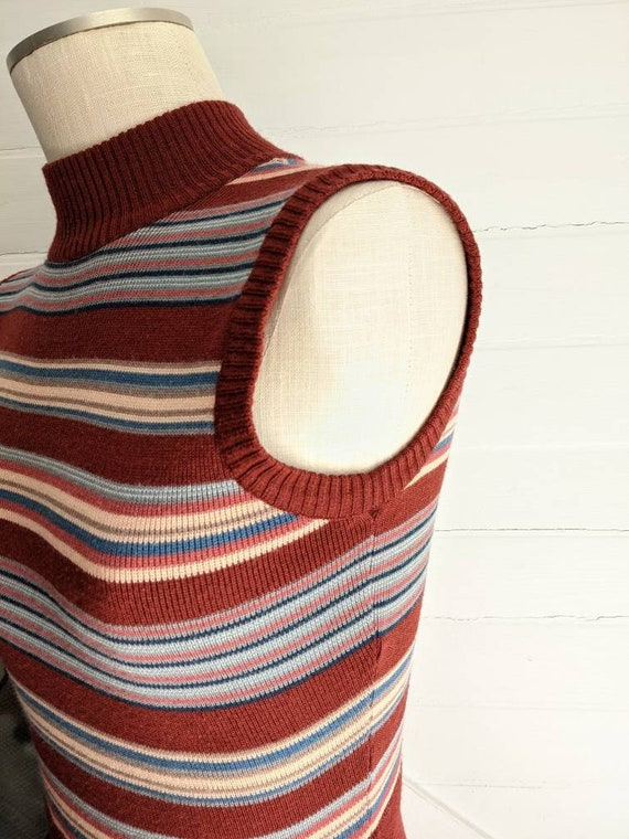 Vintage 1970s Roncelli Brown Striped Dress with S… - image 5