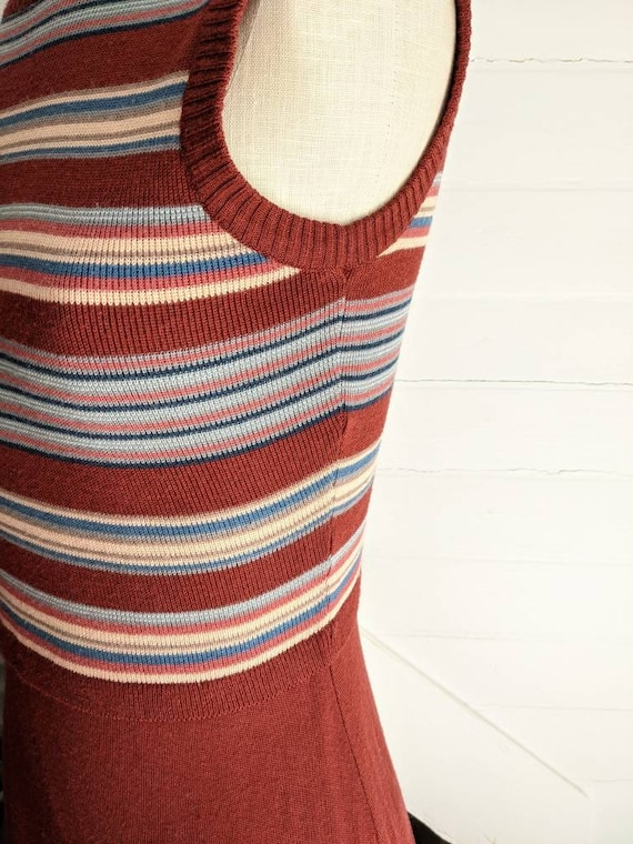 Vintage 1970s Roncelli Brown Striped Dress with S… - image 4