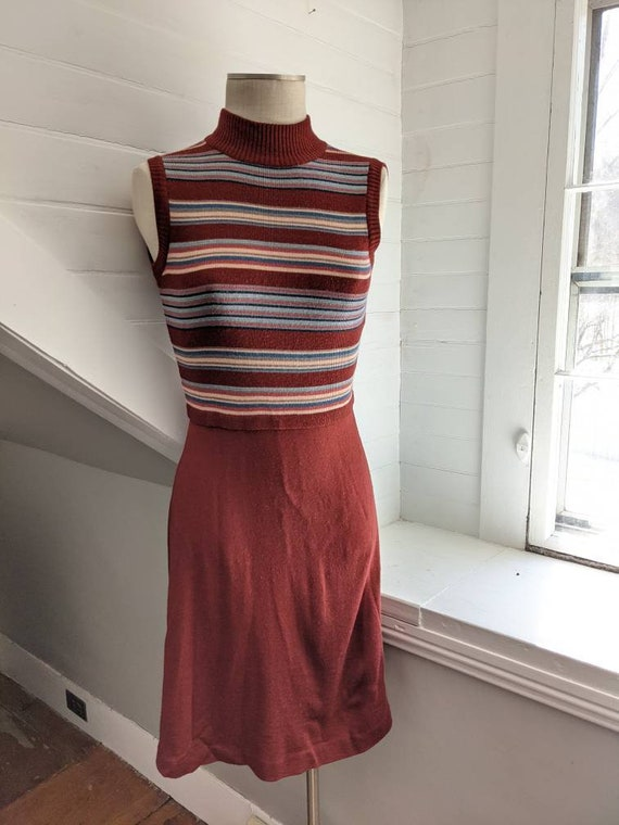 Vintage 1970s Roncelli Brown Striped Dress with S… - image 2