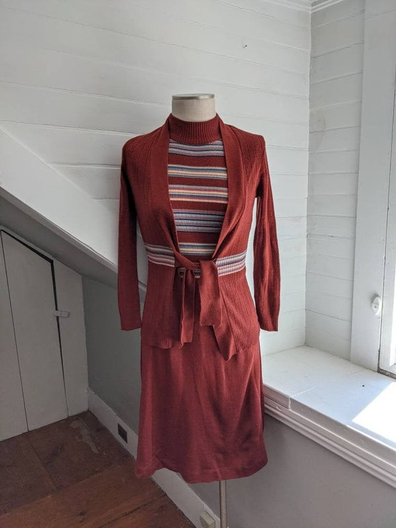 Vintage 1970s Roncelli Brown Striped Dress with S… - image 1