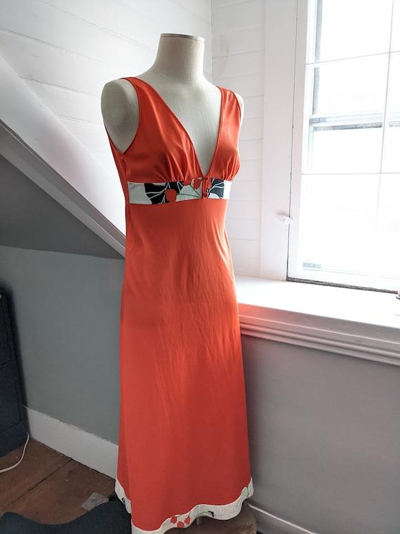 1970's Orange Lingerie Maxi Nightgown Medium