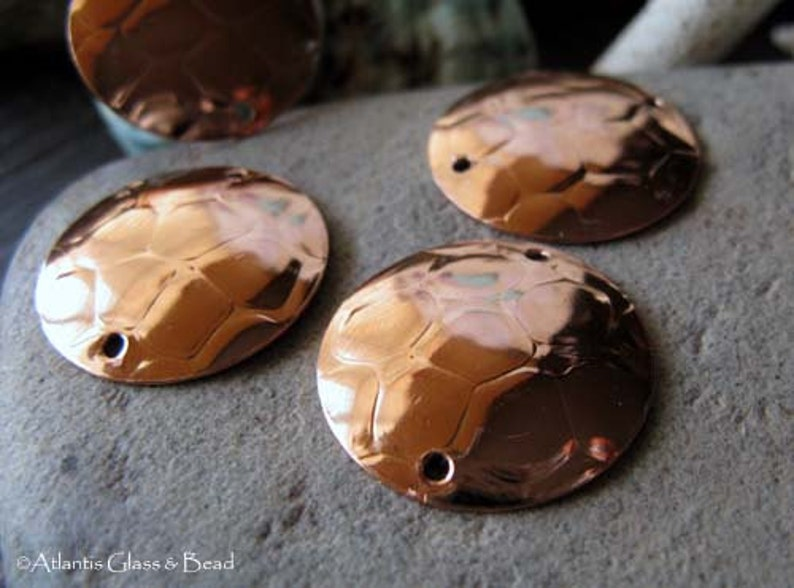 AGB artisan copper jewelery findings snakeskin texture discs 22mm Andalusia 2 pieces