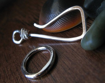 AGB artisan jewelery findings handmade sterling silver squared hook clasp set Pallas