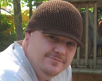 Crochet Organic Cotton Hat Brimmed Beanie YOU PICK COLORS and Size