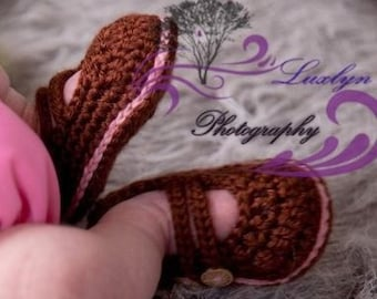 Crochet Baby Booties 2 Strap Mary Janes U PICK SIZE And Color