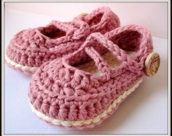 Toddler Slippers, Crochet Baby Booties, Cotton Mary Janes, baby slippers // Many sizes and colors to choose from // Baby shower gift
