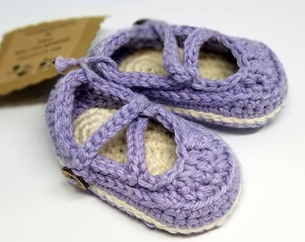 Baby Booties, Cotton Mary Janes, Baby Slippers // Ready to ship // Size 3 Months