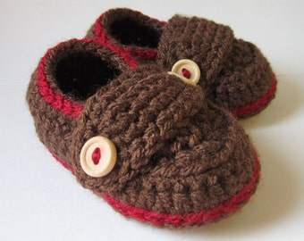 Crochet Baby Booties, Loafers, baby slippers, crib shoes // Many sizes and colors to choose from // Baby shower gift, Pregnancy Announcement
