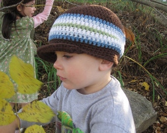 Cotton Hat, Brimmed Beanie // size Newborn to Toddler 5T // For Boys and Girls // You Choose Size and colors