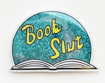 Book Lover Sticker. Book Slut Glitter Sticker. Book Lover Gift.