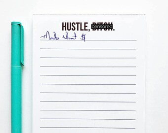 Notepad. Desktop Supply. Coworker Gift. To Do List. Hustle Bitch.