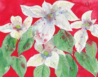 Holiday Poinsettia Watercolor Note Cards Box of 10
