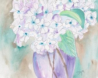 White Hydrangea Original Watercolor