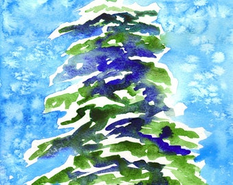 Holiday Snow Tree Watercolor Note Cards Box of 10