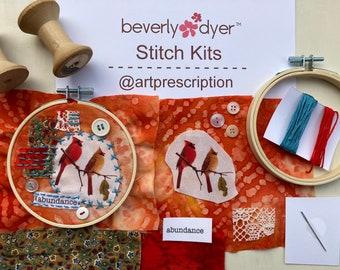 Slow Stitch: Art Prescription™ Stitch Kit, Textile Art, Meditative Stitching