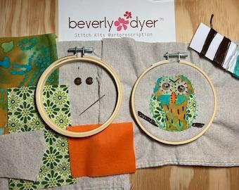 Slow Stitch: Art Prescription™ Stitch Kit, Textile Art, Meditative Stitching Owl Kit