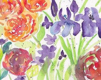 Watercolor Floral Spring Garden Note Cards