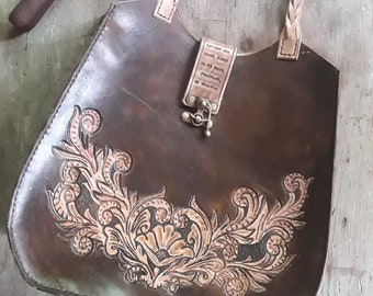 Hand Tooled Shoulder Bag - Hand Painted Handbag - Hand Carved Leather Bag - Bohemian Bag - Boho Leather Bag - Hippie Leather Bag