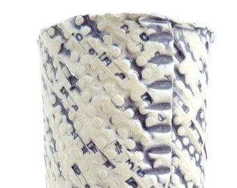 Handbuilt White and Purple Vase, Text Vase, Abstract Pattern, Organic Vase, Cylinder Vase, Slab Rolled Vase, Typewriter, Handmade Cylinder