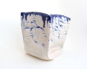 Handbuilt Small Vase, Small Cube Vase, Blue and White Home Decor, Slab Built Vase, OOAK Ceramics, Home Accent, Housewarming Gift, Birthday