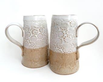 Set of 2 Handbuilt Ceramic Mugs, Coffee, Tea, Slab Built, Textural Mugs, Gift Set, Earthy Colors, Stoneware Ceramics, Handled Cup, Tall Mug
