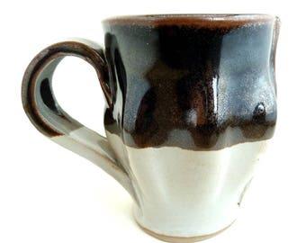 Handbuilt Ceramic Mugs, Coffee, Tea, Slab Built, Textural Mugs, Gift Set, Earthy Colors, Stoneware Ceramics, Handled Cup, Brown and White