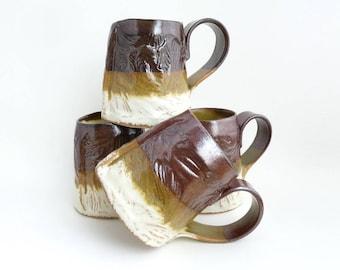 Set of 4 Handbuilt Ceramic Mugs, Drinkware, Leaf Design, Slab Built, OOAK Mug, Gift Set, Earthy Colors, Stoneware Ceramics, Handled Cup