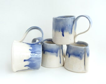 Set of 4 Handbuilt Ceramic Mugs, Drinkware, Drippy Blue Glaze, Slab Built, Blue and White, Gift Set, Stoneware Ceramics, Handled Cups