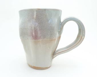 Handbuilt Ceramic Mug, Coffee, Tea, Slab Built, Gourd Form, Natural Shape, Stoneware Ceramics, Handled Cup, White and Light Blue Mug