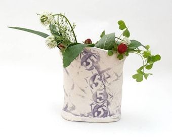 Handbuilt Paper Clay Utility Cover Vase, Lavender and White Ceramic Vase, Grid, Street Art, Number 5, Stoneware, Small Vase, FREE SHIPPING